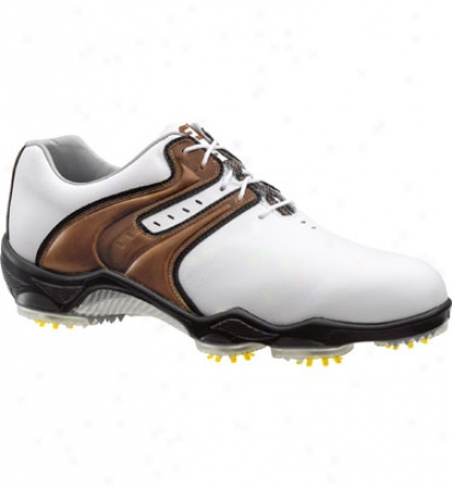Footjoy Closeout Dryjoy S Men S Golf Shoes - White/tzupe Smooth (fj#53656)
