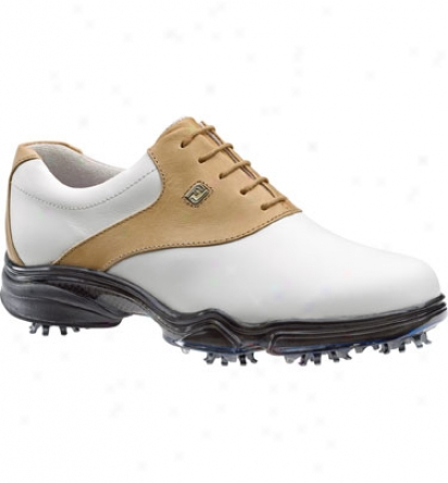Footjoy Closeout Dryjoys Women S Golf Shoes - White/camel (fj#99152)