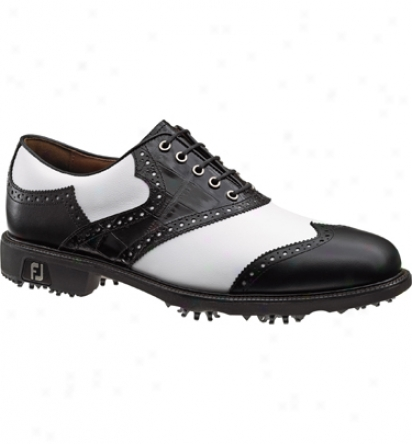 Footjoy Closeout Icon Men S Golf Shoe - White/black Cap Toe (fj#52112)