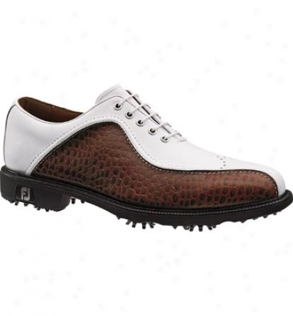 Footjoy Closeout Icon Men S Golf Shoe - White/brown Croc (fj#52146)