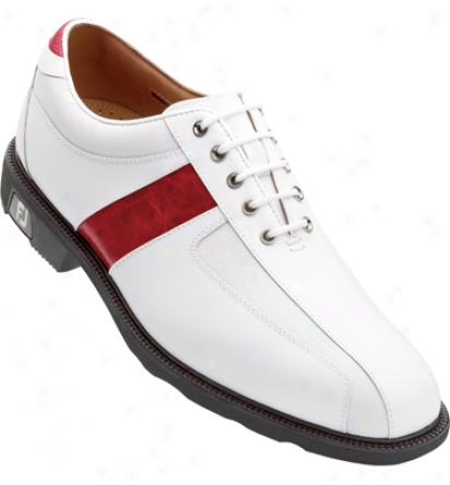 Footjoy Icon - White/red Thin Saddle (fj#52243)