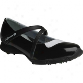 Golfstream Shoes, Inc Ladies Cross Strap Style - Patent Black/white