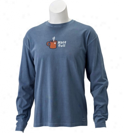 Life Is Good Men S Long Sleeve Crsuher Tee - Half Full