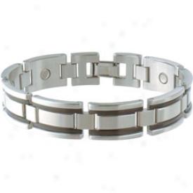 Sabona Executive Stainless/black Magnetic Bracelet