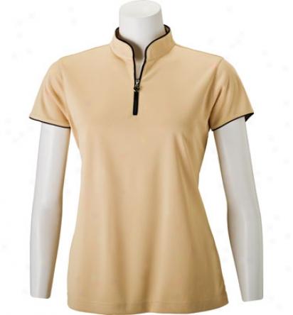 Tehama Womens Mandarin Zip Placket Polo