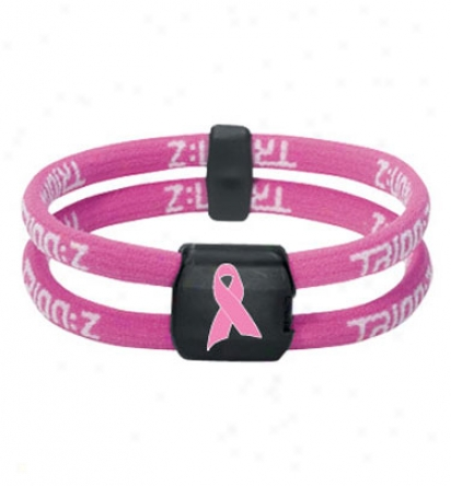 Trion:z Dual Loop Pink Ribbon Bracelet