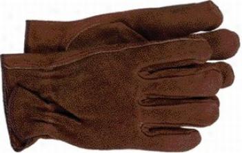 12 Pair - Split Leather Gardening And Work Gloves - Brown - Medium
