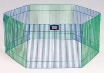 6 Panel Small Animal Exercise Pen - Green/blue