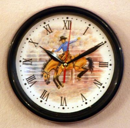 9 Decorative Wall Clock - 4 Styles - Bronc Rider - 9 Black