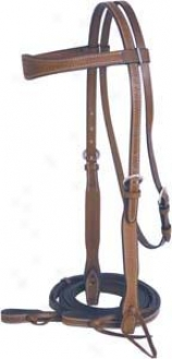 Abetta Basket Tooled Flared Bridle - Pecan - Horse
