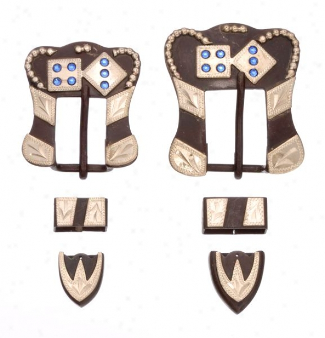 Antique Brown Buckle, Tip And Keeper Set With Dice Accents