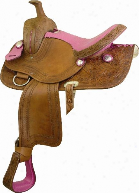 Atec Ostrich Cow Seat Sadxle - Natural With  Pink - 16