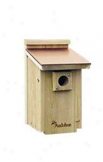 Audubon Bouebird House With Coppertop Roof - Natural