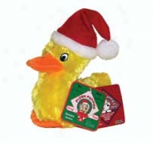 Babble Buddies Holiday Duck Dog Toy - Lemon - Small