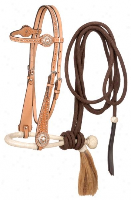 Basketweave Brow Headstall With Bosal And Mecate