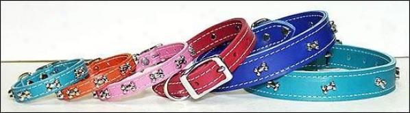 Bone Ornament Leather Dog Collar