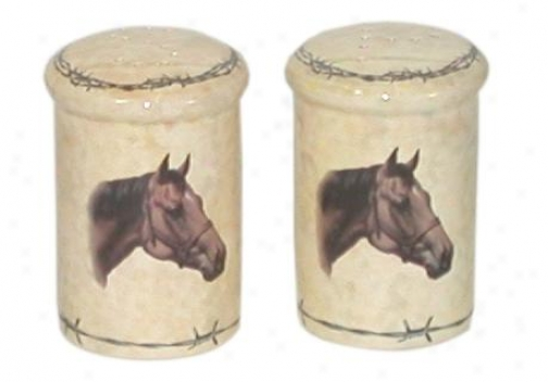 Classic Horse-design Salt & Pepper Shakers - Natural - Set Of 2