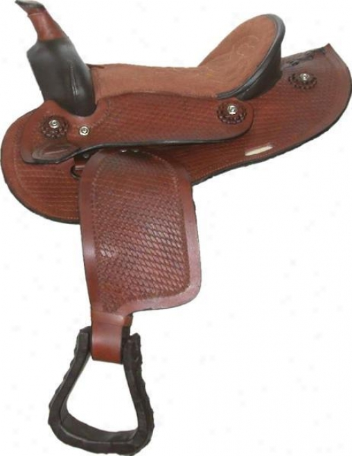 Classic Western Tooled-leather Saddle - Brown - 12 Semi-qh Bars