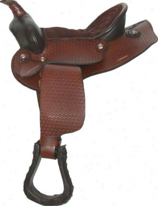 Classic Western Tooled-leather Saddle - Brown - 10 Semi-qh Bars