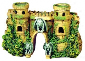 Cobble Castle Ruins Aquarium Ornament - 10x3.5x5.5