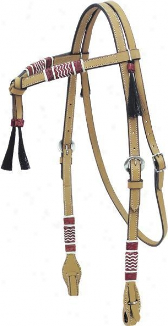Cowboy Pro Braided Rawhide Headstall - Natural Gold - Horse