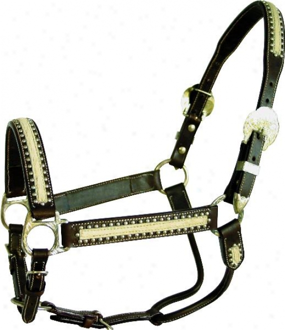 Cowboy Pro Halter With Hair On Hide - Lt Chocolate - Horse