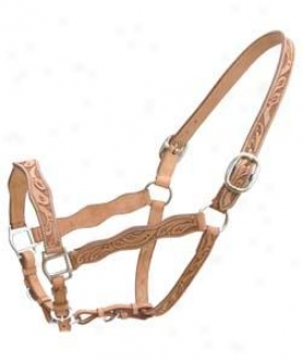 Cowboy Pro Hand Tooled Scalloped Halter - Natural Gold - Horse