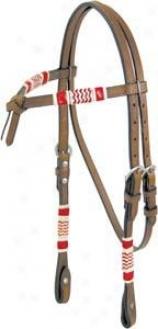 Cowboy Por Rawhide Trim Headstall - Pecan - Horse