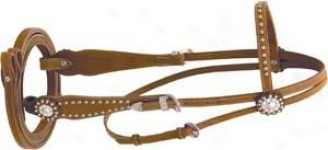 Cowboy Pdo Studded Headstall With Reins - Pecan - Horse