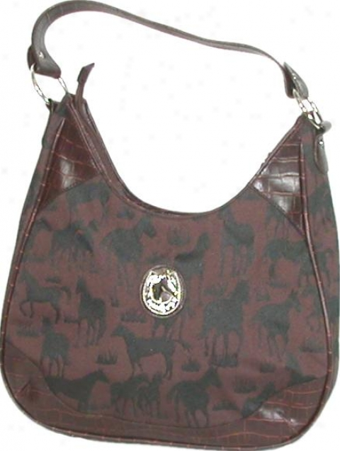 Equine Collection Canvas Purse With Horse Print - Black