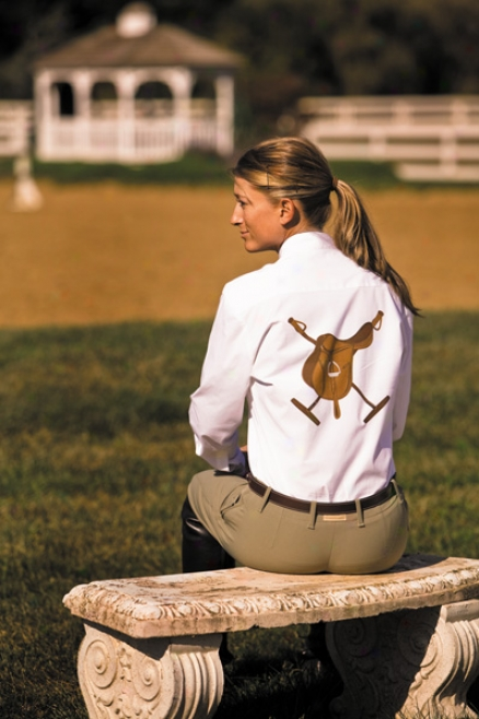 Equine Couture Oxford Long Sleeve Show Shirt Ladies