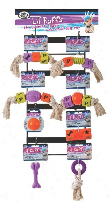 Four Paws Lil Ruffs Rubber Dog Toy Display - 32 Piece