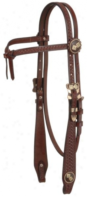 Futurity Brow Flared Basketweave Headstall With Abr/silver Dice
