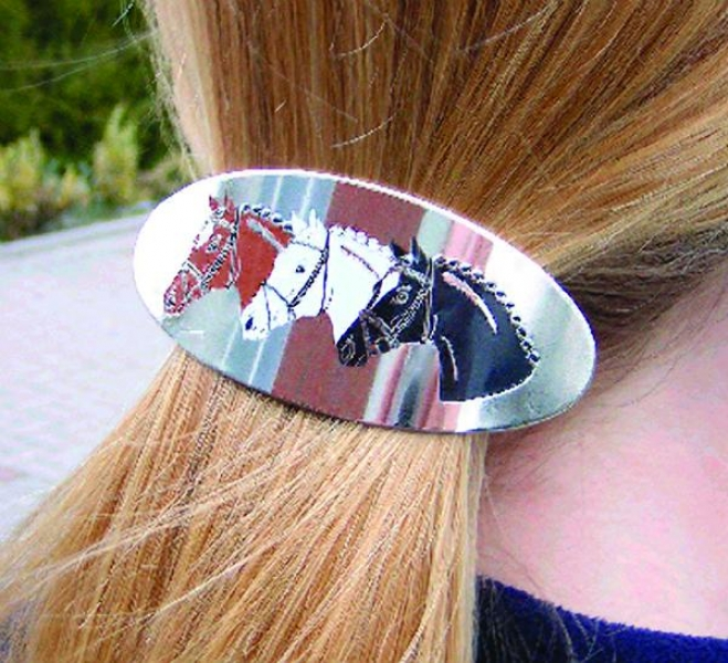 Hair Barrette - Horse Heads Design