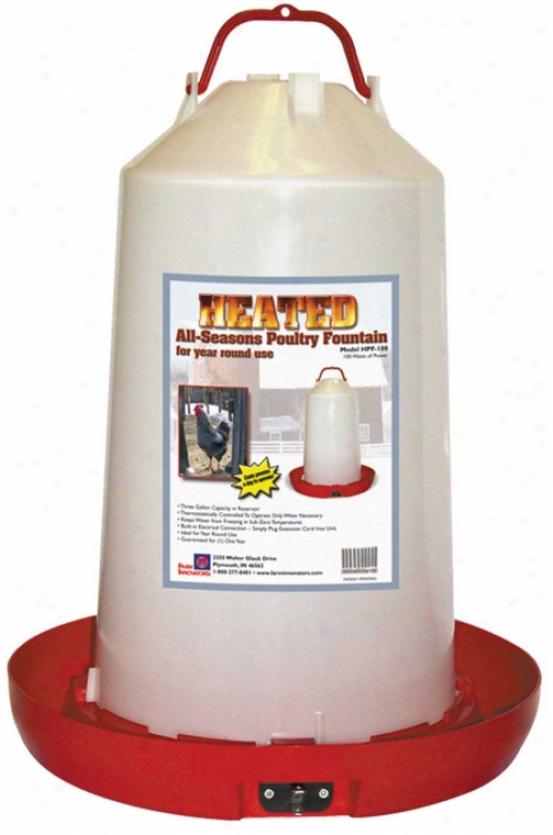 Heated Plastic Poultry Fount - 100 Watt