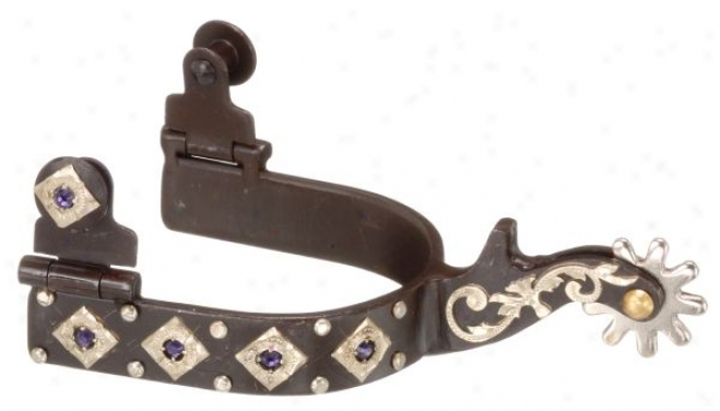 Kelly Silver Star Abr Spur With Engraved Silver And Crystalz