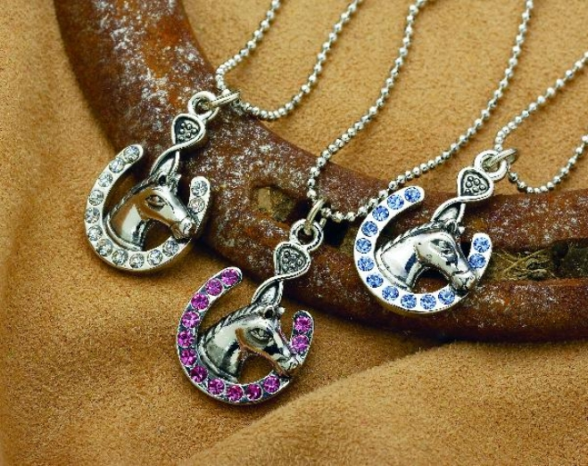 Lucky Horse Shoe With Horse Head Necklace