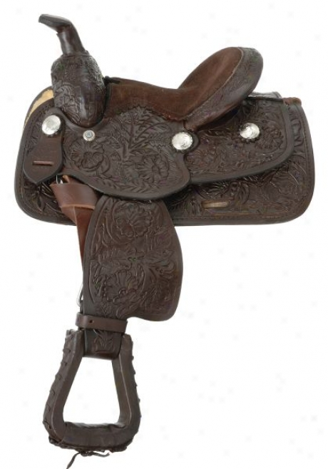 Miniature Floral Tooled Western Saddle