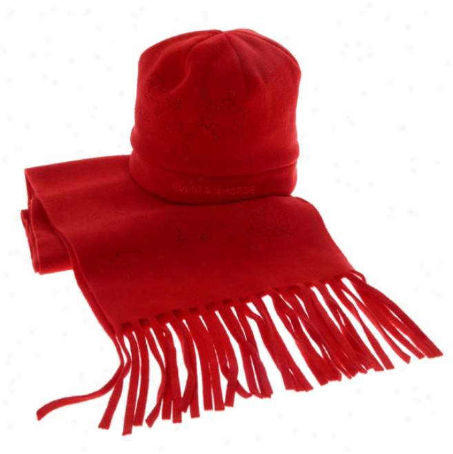 Mountain Horse Fleece Hat & Scarf Gift Pk - Red