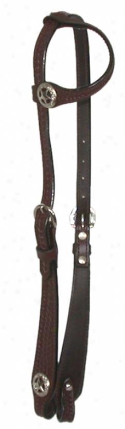 One Ear Westerly Headstall Wkth  Basketweave - Brown - Horse