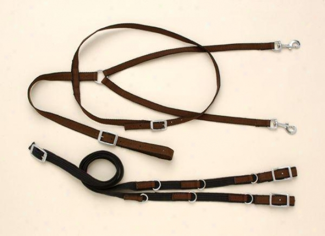 Performers 1st Choice Nylon German Martingale Rein Set - Horse