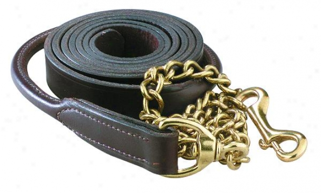 Perri's Rolled Leather Lead With  30 Solid Brass Chain