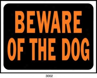 Plastic Beware Of Dog Sign - Black/orange