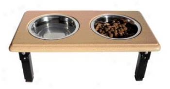 Posturepro Adjustable Double Diner Dish For Dogs - Oak - 1 Quart