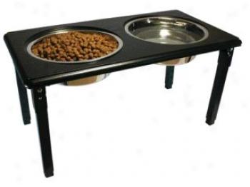 Posturepro Adjustable Double Diner Dish For Dogs - Black - 1 Quart