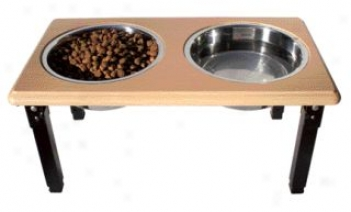 Posturepro Adjustable Double Diner Dish For Dogs - Oak - 2 Quart