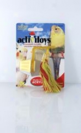 Preening Rope Toy For Birds - Red/yellow