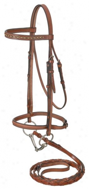 Raised Snaffle English Bridle With Gold Link & Stone Crystals