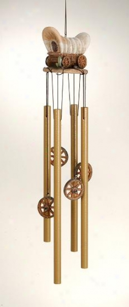 Resin Western Chuck Wagon Wind Chime - Brown - 17