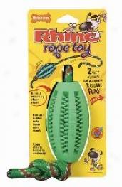 Rhino Rope Football Dog Toy - Green